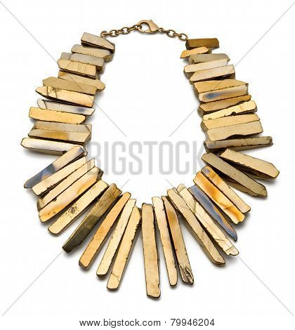 Gold Plated Titan Necklace On White Background