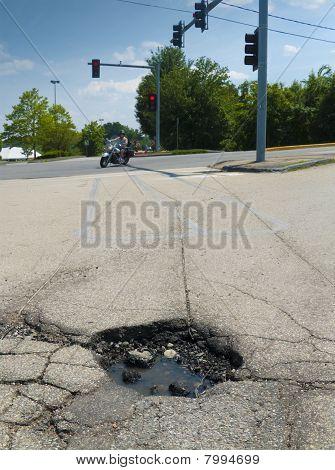 Pothole at lights