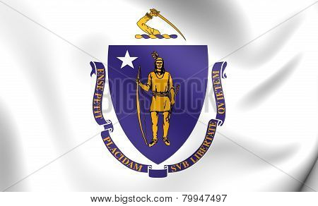 Flag Of Massachusetts, Usa.