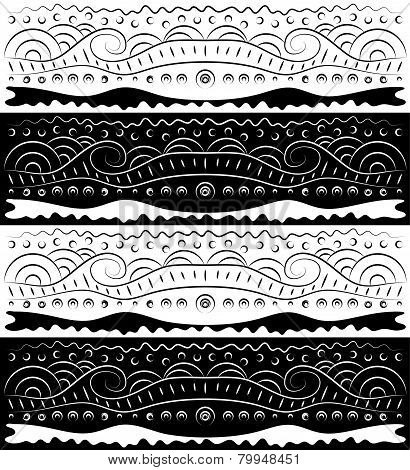 Black White Abstract Scroll Pattern
