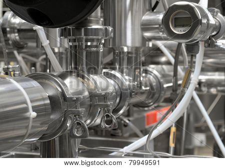industrial steel pipes, close up with pressure meter