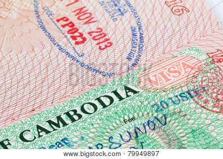 Cambodia visa stamp in passport