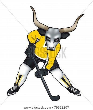 Vector illustration of a bull mascot for ice hockey team or .