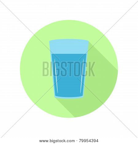 Glass of water in flat round icon