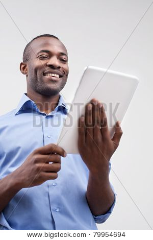 Working On Digital Tablet.