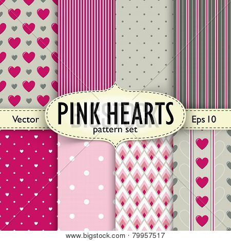 Set of hearts, stripes and dots seamless patterns