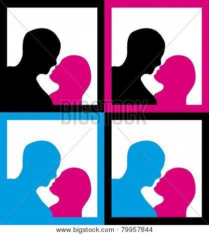 Male Female Silhouette Kissing