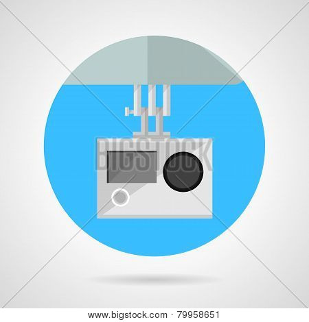 Extreme sport camera flat vector icon