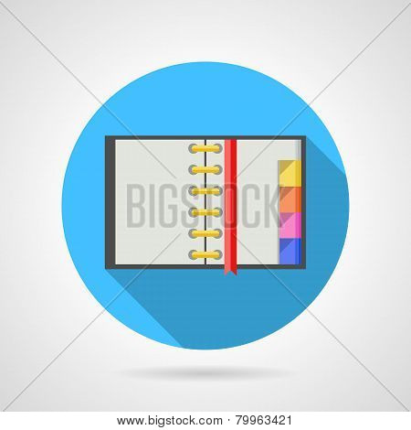 Opened ring notebook flat vector icon