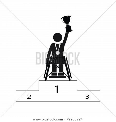 Disable Handicap Sport Paralympic Games Winner Figure With Winner Cup Pictogram Icon