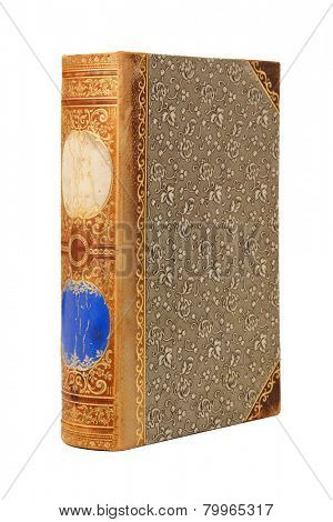 Vintage 19th century book with ornate cover upright isolated on white background
