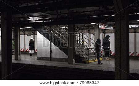 Subway Passengers Waiting In The Cold For Train