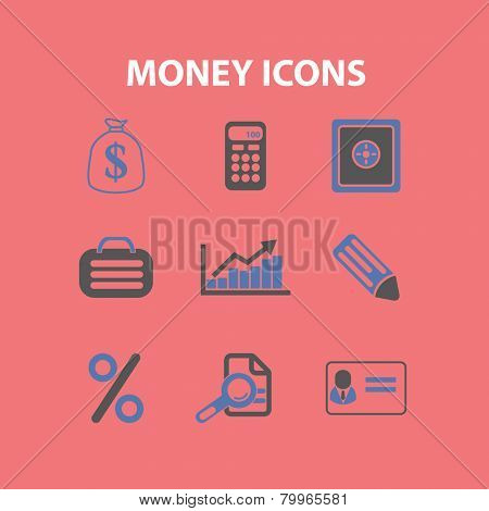 money, bank, payment, finance icons, signs, symbols, illustrations set on background, vector