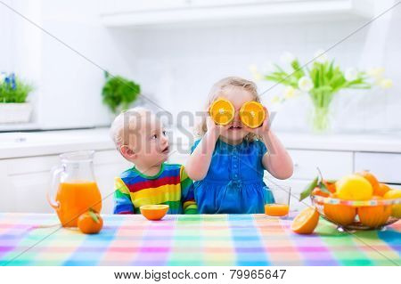 Kids Drinking Orange Juice