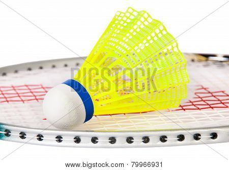Shuttlecock Lying On The Badminton Racket