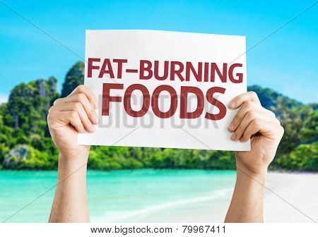 Fat Burning Foods card with a beach on background