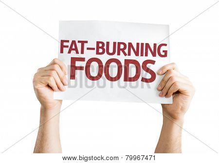 Fat-Burning Foods card isolated on white background