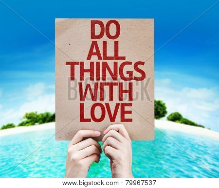Do All Things With Love card with a beach on background