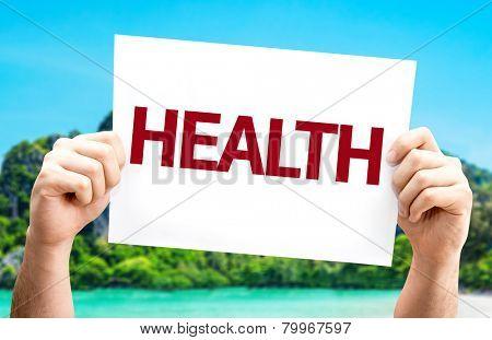 Health card with a beach on background