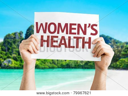 Women's Health card with a beach on background