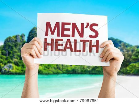 Men's Health card with a beach on background