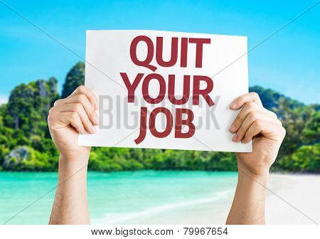 Quit Your Job card with a beach on background