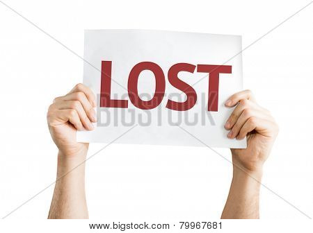 Lost card isolated on white background