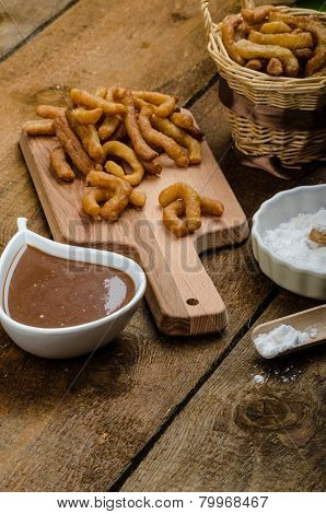 Churros With Chocolate Dip - Streed Food, Deep Fried