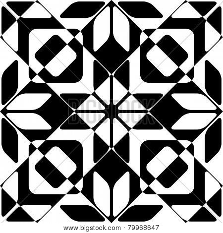 Seamless Cristal Pattern. Vector Geometric Background. Regular Monochrome Texture