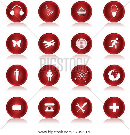 Red Web Buttons Collection