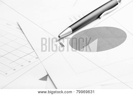 Business Document With Pie Graph, Focus To The Text Sale