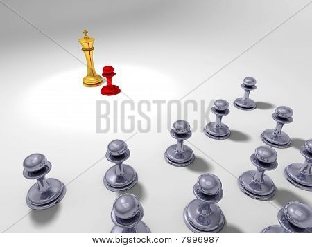Little red pawn in front of a big golden king