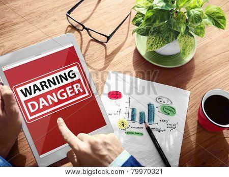 Digital Device Wireless Browsing Warning Danger Internet Concept