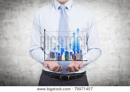Man Holding Chart And Skyscraper