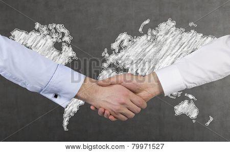Handshake And  Map
