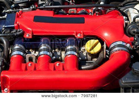 Powerful Red Car Engine