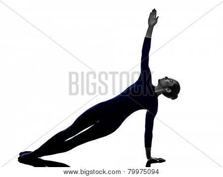 woman exercising Vasisthasana side plank pose yoga silhouette shadow white background