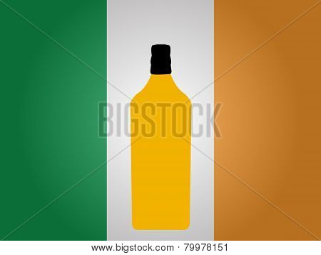 Irish Flag With A Bottle Of Whiskey
