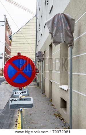 wrapped traffic signs, icon for traffic, no parking place, temporary,