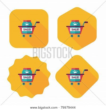 Pet Sale Shopping Flat Icon With Long Shadow,eps10