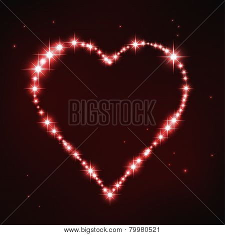 illustration of stylized red iregular heart in style of star constellation