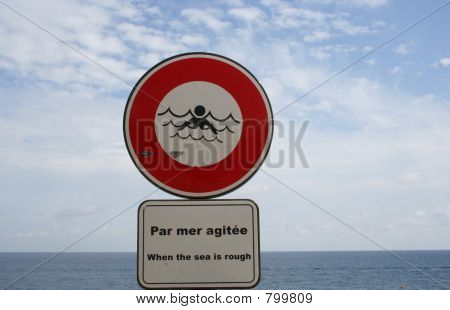 French no swimming sign