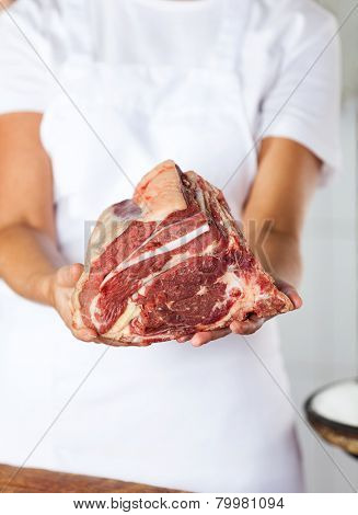Midsection of female butcher holding fresh meat in butchery