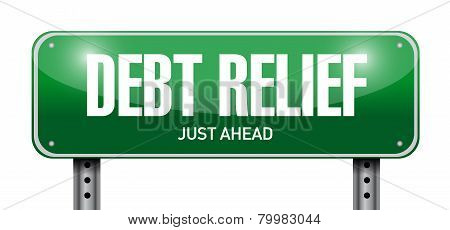 Debt Relied Road Sign Illustration Design