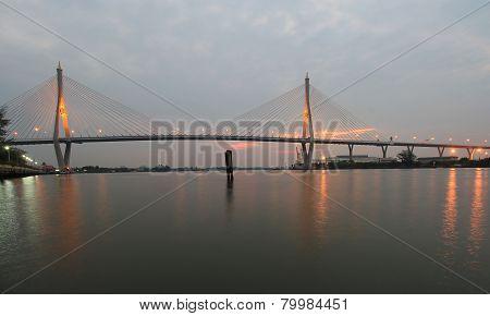 Night Scene Bhumibol Bridge, Bangkok, Thailand