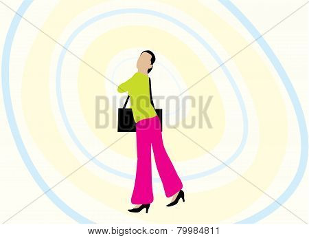 Woman And Handbag Illustration