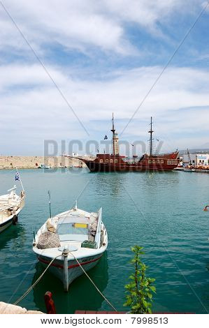 Venetian Harbour Of Rethymno With Pirate Ship, Crete, Greece
