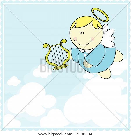 baby angel with harp