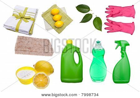 Variety Of Green Cleaning Supplies