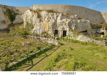 troglodyte dwellings in archaeological park of Akrai in Palazzolo Acreide, Sicily
